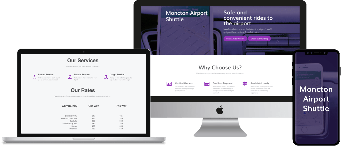 CMS website built on WordPress for Moncton Airport Shuttle