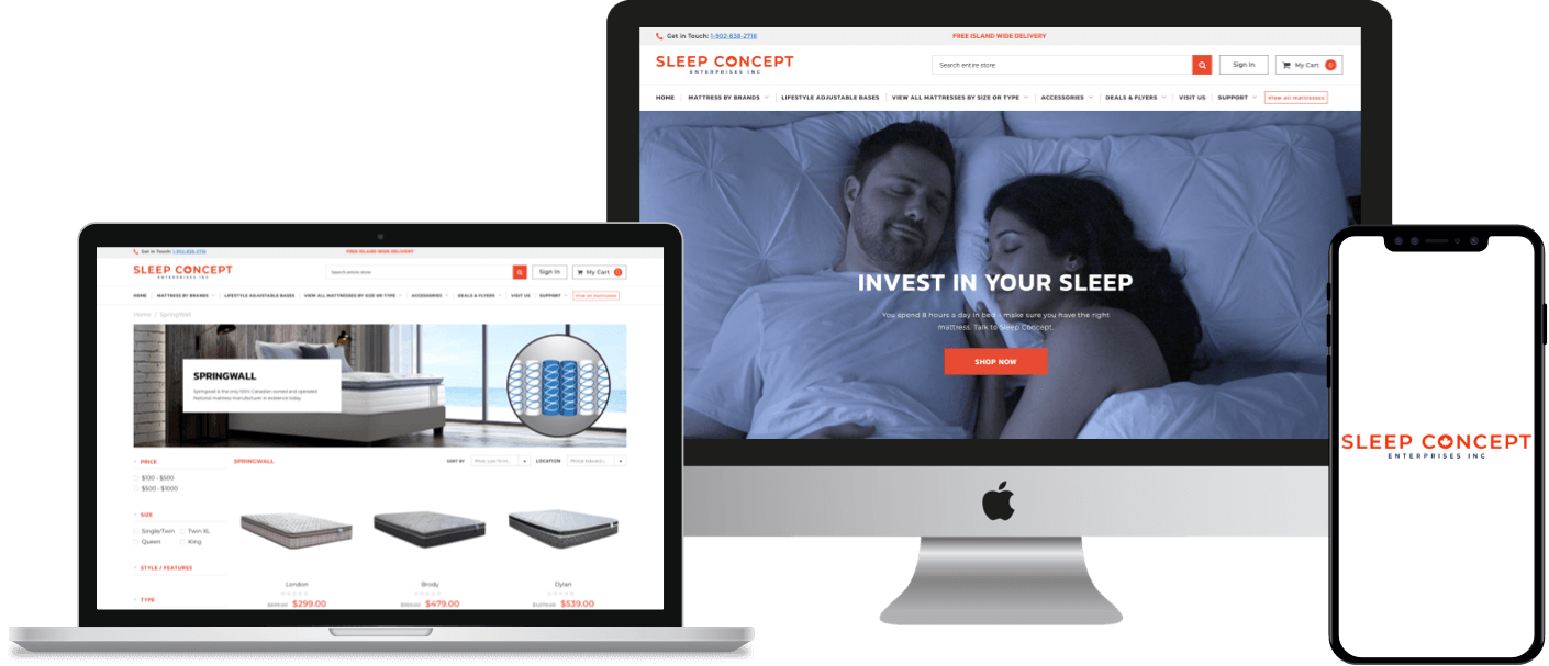 Shopify eCommerce store development for a reputable mattress manufacturing company