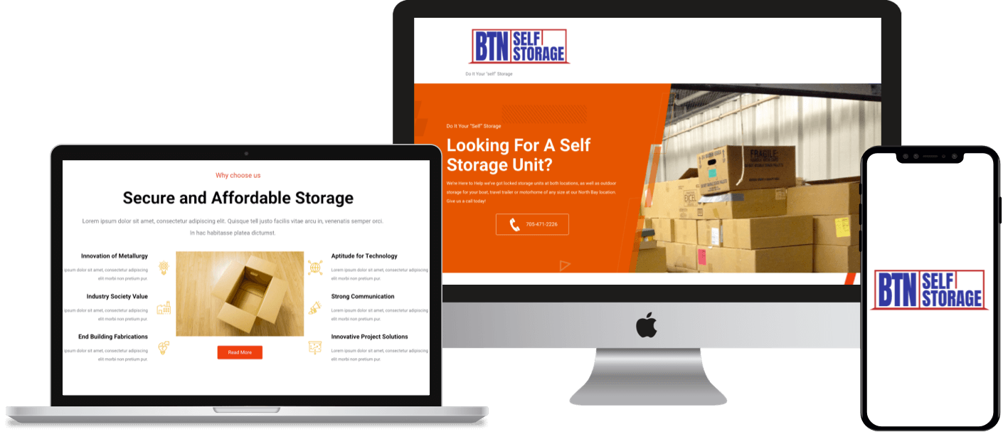 A WordPress-based CMS website for a self-storage service business in North Bay , Ontario.